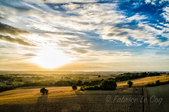 Et la nuit bleu  bleu (Fabrice Le Coq) Tags: extrieur paysage ciel coucherdesoleil nuage calme arbre champ bleu vert orange fabricelecoq