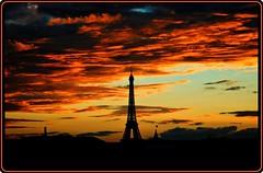 Sunset in Paris (Ioan BACIVAROV Photography) Tags: paris france sky cloud clouds eiffel eiffeltower toureiffel bacivarov ioanbacivarov bacivarovphotostream interesting beautiful wonderful wonderfulphoto nikon red orange black ciel nuage soleil panorama parispanorama contrejour silueta apussoare soare