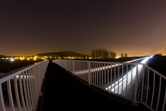 M56 Footpath bridge #2 (Rob Pitt) Tags: longexposure bridge light public car night painting motorway trails lane pylons footpath narrow kemira startrails smithy helsby m56 helsbyhill startrailsexe