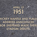 4/17/1951 MICKEY MANTLE & BOB SHEPPARD DEBUTS Old Yankee Stadium Historical Plaque, Ruppert Plaza, Bronx, New York City