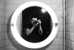 bathroom mirror self-portrait (gorbot.) Tags: blackandwhite selfportrait reflection me monochrome bathroom mirror rangefinder mmount leicam8 silverefex voigtlander28mmultronf19