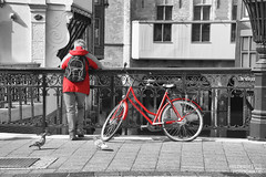 Lady (and bike) in red (Helder(e) plaatjes) Tags: dordrecht fotowandeling