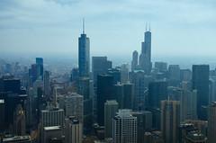The Two Towers  {EXPLORE 04/24/13} (benchorizo) Tags: city urban chicago skyline buildings downtown cityscape skyscrapers searstower trumptower downtownchicago chicagoskyline chicagoist banias johnhancockobservatory d7000 willistower benchorizo romeobanias