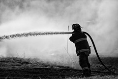 Into the fire! (Perry McKenna) Tags: barn fire power smoke brush firefighter ofd burnban ottawafd