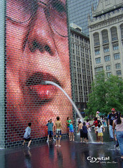 "Crown Fountain at Millennium Park in Chicago (Crystal Fountains) Tags: lighting chicago water fountain lights faces artistic famous led crown fountains feature park"" nozzle pool"" ""crystal fountain"" ""millennium ""water ""crown features"" ""jaume ""reflecting feature"" fountains"" plenza"""