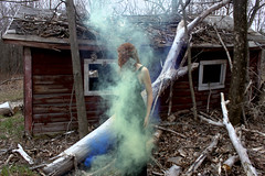 Annika (That Was Then Photography) Tags: red house black tree broken annika head smoke dream dreaming falling gown bombs