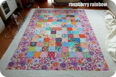 Pin basting, making a quilt sandwich. (The Land of the Raspberry Rainbow) Tags: family grandma hk flower colour love floral march blog quilt handmade fabric april imadethis petunia granny petunias madewithlove 2013 raspberryrainbow wwwraspberryrainbowcom