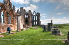 Whitby Abbey - 2 (Photographs by David Hollingworth) Tags: windows sky clouds ruins stonework steps couples bluesky landmark whitby grasses walls iconic historicalsite whitbyabbey craftmanship knave historica masonary englishheritage turists sightseers pliiard lawndedarea