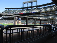 Citi Field, 05/16/13: view from the visitors' dugout (IMG_0895) (Gary Dunaier) Tags: newyorkcity baseball stadiums queens mets queensborough newyorkmets queensboro ballparks flushing stadia queenscounty citifield