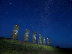 Akivi night (Worldtraveller) Tags: chile sculpture archaeology stone night stars island polynesia twilight ancient pacific dusk galaxy southpacific monolith moai easterisland megalith rapanui milkyway ahu akivi