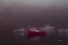 Early Morning Fog [Explore June 7, 2013] (massbat) Tags: red water fog reflections boats harbor maine buoys rockport topaz lobstering rockportme buoyant