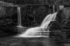 Secluded (SunnyDazzled) Tags: water fall factory falls pennsylvania forest waterfall creek stream nature landscape bw mono rock stone cliffs geology longexposure summer evening childspark delawarewatergap