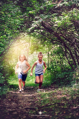 (Rebecca812) Tags: childhood fun running forest happiness trees path nostalgia girls portrait people atmospheric rebecca812 canon
