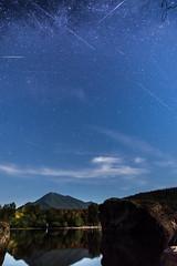Perseids, Rattlesnake Lake, Washington (Jojo Septantesix) Tags: stars starry sky blue night perseid perseids meteor shower lake rattlesnake water mountain long exposure rock