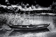 The old boat (IR) (Usstan) Tags: spring d750 nikon calm sigma old water enebakk outdoor lake evening ytreenebakk clouds norway shadows locations lens 2470mm infrared monochrome norge akershus sky boat bw ir landscape blackandwhite no