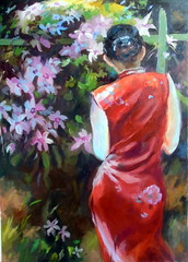 Lady in red, by Vnia C. - DSC03940 (Dona Mincia) Tags: art painting acrylic paper humanfigure lady red portrait flowerarte pintura acrlica mulher gente people figurahumana vestidovermelho flor retrato