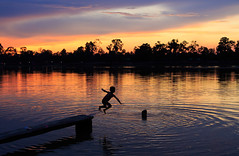 Joyous Jump (wu di 3) Tags: cambodia siamreap southeastasia children sunset boy