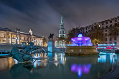 Town Centre at Night (Jerry Fryer) Tags: londontown charingcross trafalgarsquare cityscape bluehour reflections fountains water longexposure clouds stmartininthefields nightscape sky blue light street city