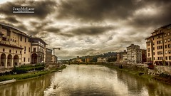 Arno reflections. (Jean McLane) Tags: firenze florence arno italie clouds cloudy nuages darksky