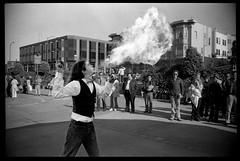 San Francisco Flame Artist 1973 (jimhairphoto) Tags: sanfrancisco recuerdos delavida remainsoftheday naturalworld america streetlife streetstories thtrederue 35mm film blackandwhite blancetnoir schwarzeaufweis blancoynegro blancinegre siyahvebeyaz jimhairphoto