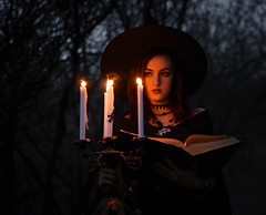 Witch (Ash and Debris) Tags: wood night magic woods mystical darkness evening light candle girl spells spell forest book candless hat witch dark fire beauty sorceress