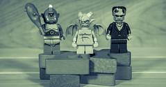 Cyclops, Gargoyle and Frankenstein (Busted.Knuckles) Tags: home toys lego minifigures cyclops gargoyle frankenstein splittone pentaxk3 lightroom