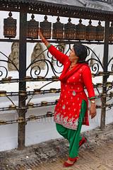 Swayambunath (Bertrand de Camaret) Tags: nepal swayambunayh asie asia femme woman moulinapriere devotion bertranddecamaret ngc nationalgeographic verticale rouge red