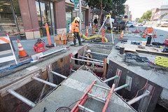 160816_1104_4thStSTS (Central Subway) Tags: 4thstreet bluxomealley centralsubway muni sf sfmta sts sanfrancisco sanfranciscomunicipalrailway sanfranciscomunicipaltransportationagency soma tthirdline conduit construction extension installation lightrail phase2 project southofmarket surfacetrackwork trench trenching utilitywork