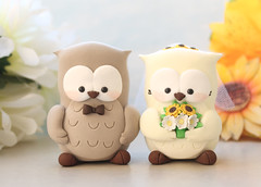 Custom Owl wedding cake toppers - tan ivory sunflowers off white daisies (PassionArte) Tags: owl gufo cake toppers bride groom ivory white tan brown gray grey purple teal green red rainbow names handmade etsy personalized unique cute country rustic funny elegant custom bouquet bridal gift anniversary yellow sunflowers daisies