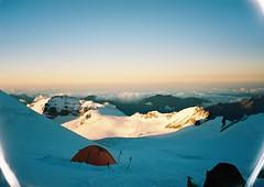 (Nikolay Kulivets) Tags: 35mm film olympusmjuii mjuii kodak georgia alpinism kazbek caucasus mountain dawn snow clouds landscape bivvy camp