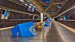 Stockholm, Sweden: Solna Strand Station, Line T-10 (Blue) (nabobswims) Tags: hdr highdynamicrange lightroom linet10 metro nabob nabobswims photomatix se sl solnastrand sonya6000 station stockholm subway sweden tbana tunnelbana ubahn solna stockholmiän selp1650