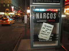 The Latest Narcos AD Escalation 6003 (Brechtbug) Tags: the latest narcos ad escalation bus shelter pile o money stolen removed tv show stop with piles slightly singed real fake or is it 2016 nyc image taken 10012016 midtown manhattan new york city 49th street 7th ave st avenue moola bogus netflix update they stole now there note