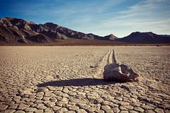 Meanwhile, Here On Earth (matthewkaz) Tags: rock shadow theracetrack racetrack stone drylake racetrackplaya sailingstone sailingstones mountains deathvalley desert california 2014 inyocounty inyomountains sky clouds