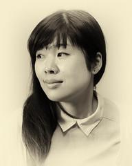 l'ancienne (www.danbouteiller.com) Tags: portrait portraiture face visage asian asiatique japanese japonaise asianmodel japanesemodel japanesewoman woman femme girl fille japanesegirl beauty sepia monochrome mono monochromatic canon canon5d eos 5dmk2 5d 50mm 50mm14 5d2 5dm2