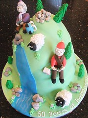 Mountain Walking Cake (Victorious_Sponge) Tags: birthday wedding mountain cake walking sheep hiking anniversary 50th 50