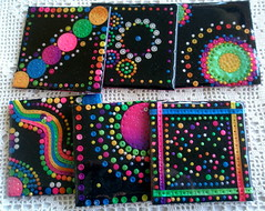 Spots and circles meeting stripes (klio1961) Tags: rainbow handmade unique oneofakind decorative polymerclay fimo resin madebyme authentic coasters shimmering beautifull pardo cernit premo liquidglass micapowders decoratedobjects
