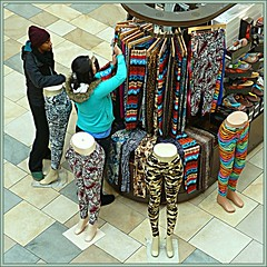 Go ahead, make a fashion statement! (ohkayeor) Tags: mall 6ws tights customer vendor clerk ribbet viewfromabove odc1