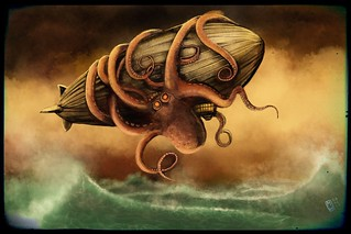 Giant Octopus attacks Zeppelin