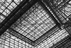 Javits Center (SA_Steve) Tags: nyc windows roof white newyork black geometric glass lines metal architecture canon grid eos rebel yahoo flickr gallery pattern squares manhattan shapes angles engineering center structure ceiling midtown infrastructure conventioncenter shape linear facebook javits flickrcom javitscenter featured yahoocom yahooeditorial twitter t4i sasteve canoneosrebelt4i 2013nyintlautoshow twittercomsasteve