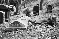 Fallen angel, St. James cemetery, Toronto (Richard Wintle) Tags: blackandwhite bw toronto ontario canada film broken monochrome cemetery grave graveyard statue angel 35mm iso400 headstone voigtlander rangefinder fallen 400 gravestone 135 40mm f28 premium voigtländer stjames skopar vf101 colorskopar arista