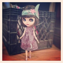 Made this lil outfit this morning, I love this fabric ^___^ #blythe