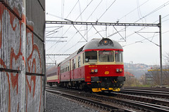 Lenka (Treflyn) Tags: station train europe republic carriage czech prague diesel south rail railway praha class railcar single tow outskirts lenka 0213 854 čd české dráhy vysočany
