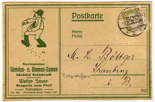 Karta pocztowa z reklamą firmy Waltera Sauer Schivelbein