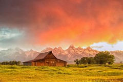 Thomas Moulton barn with red cloud - explore # 1 (Marvin Bredel) Tags: red sky mountains classic clouds barn sunrise 1 wooden nationalpark historic explore wyoming tetons iconic jacksonhole moulton grandtetonnationalpark explore1 moultonbarn marvinbredel thomasmoulton