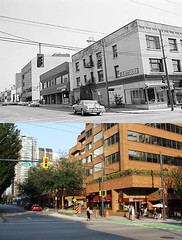 NE Corner of Davie and Hornby - 1981/2012 (entheos_fog) Tags: vancouver downtown davie 1980s hornby thenandnow