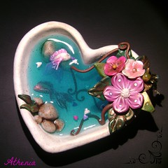 HeartShape Pond 2 (Cold Stardust (Athena Alex)) Tags: fish flower rock stone pond heart handmade polymerclay resin premo coldstardust