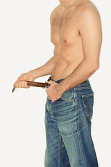 IS054-016 (rlingiii) Tags: shirtless people sexy male men one belt clothing pants adult bare indoors jeans denim cropped copyspace cloth youngadult bodypart fit oneperson casualclothing partiallynude caucasianethnicity