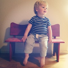 Caleb and his little red bench (Adam Walker Cleaveland) Tags: square squareformat lordkelvin iphoneography instagramapp uploaded:by=instagram