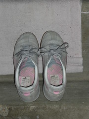 We left them out in the garage to air out because they stunk! (CallalilyGazer) Tags: pumas dirtyshoes tennisshoes oldshoes stinkysneakers
