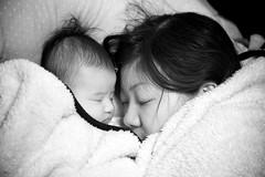 Mommy-Daughter Nap (Explored) (Jake in Japan) Tags: sleeping portrait blackandwhite baby japan nikon daughter mother blanket newborn nikkor fx flickrexplore explored 105mmf28gvrmicro afsvrmicronikkor105mmf28gifed d700 jakejung gettyimagesjapan13q4 gettyimagesjapan13q3